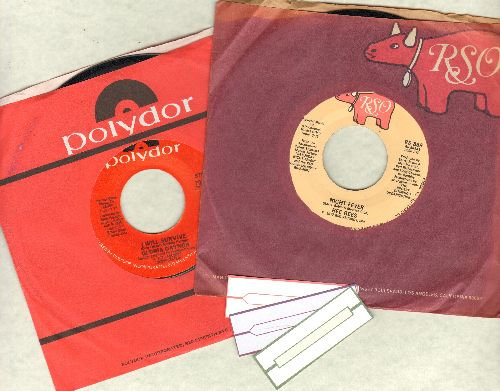 Bee Gees, Gloria Gaynor - 2 first issue 45rpm record with oriignal company sleeve for the price of 1! - Hits include Night Fever and I Will Survive. Shipped with 3 blank juke box labels) - NM9/ - 45 rpm Records