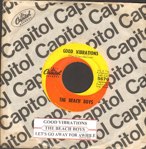 Beach Boys - Good Vibrations/Let's Go Away For Awhile (with juke box label and Capitol company sleeve) - VG7/ - 45 rpm Records
