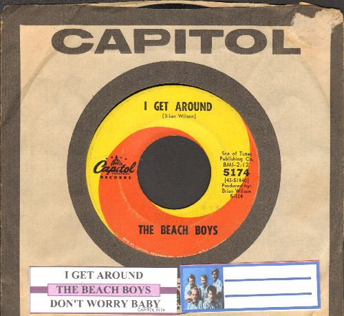 Beach Boys - I Get Around/Don't Worry Baby (with juke box label and Capitol company sleeve) - VG6/ - 45 rpm Records