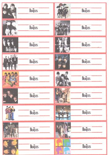 Juke Box Labels - 18 Juke Box Labels with pictures of The Beatles on 8X11 sheet of heavy paper. GREAT for a juke box or to dress up your vintage vinyl collection! - M10/ - Supplies