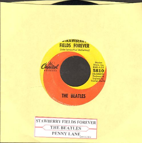 Beatles - Strawberry Fields Forever/Penny Lane (with juke box label) - EX8/ - 45 rpm Records