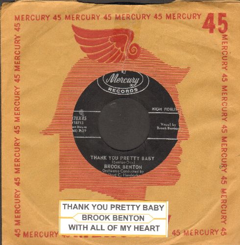 Benton, Brook - Thank You Pretty Baby/With All Of My Heart (with juke box label and vintage Mercury company sleeve) - NM9/ - 45 rpm Records