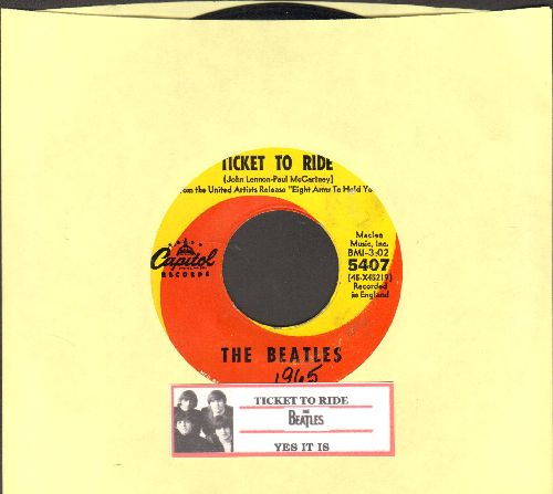 Beatles - Ticket To Ride/Yes It Is (with juke box label) - VG7/ - 45 rpm Records