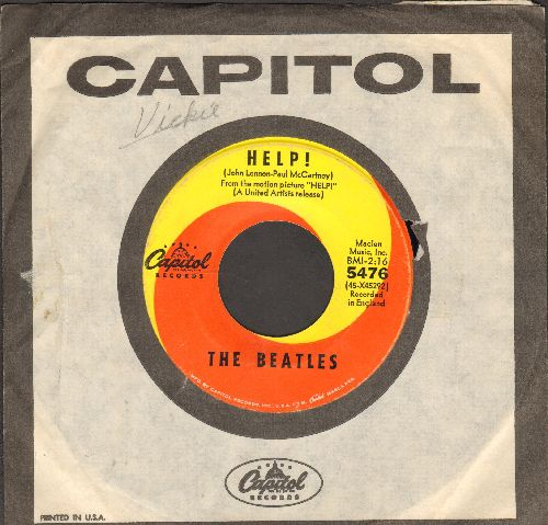 Beatles - Help!/I'm Down (orange/yellow swirld first issue with Capitol company sleeve) - VG7/ - 45 rpm Records
