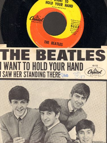Beatles - I Want To Hold Your Hand/I Saw Her Standing There (first pressing with picture sleeve)(wol/wos) - EX8/EX8 - 45 rpm Records