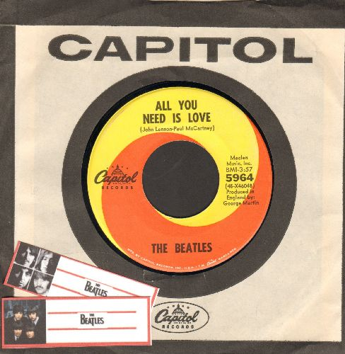 Beatles - All You Need Is Love/Baby You're A Rich Man (with vintage Capitol company sleeve) - VG7/ - 45 rpm Records