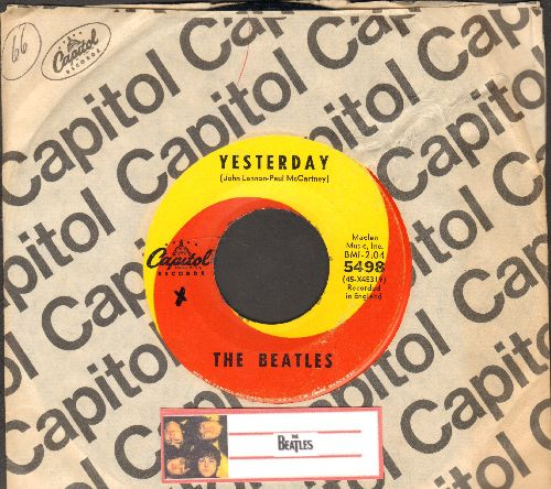 Beatles - Yesterday/Act Naturally (yellow/orange swirl first issue with Capitol company sleeve) - EX8/ - 45 rpm Records