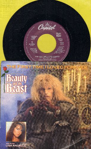 Angelle, Lisa - The First Time I Loved Forever (Theme From Beauty and the Beast) (3:17 minutes and 3:12 minutes versions, with picture sleeve) - NM9/EX8 - 45 rpm Records