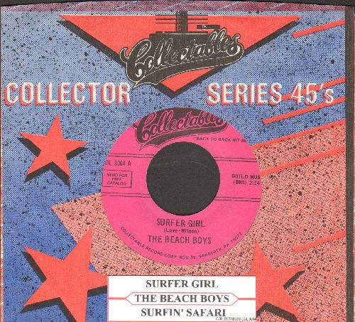 Beach Boys - Surfin' Safari/Surfer Girl (double-hit re-issue with Collectables company sleeve and juke box label) - NM9/ - 45 rpm Records