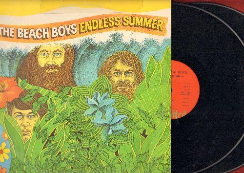 Beach Boys - Endless Summer (orange label first pressing): Surfin' Safari, Surfer Girl, Surfin' USA, Be True To Your School, I Get Around, Wendy, Don't Worry Baby, California Girls, Help Me Rhonda  (2 vinyl LP record set, gatefold cover) - EX8/VG6 - LP Re