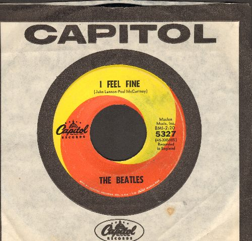 Beatles - I Feel Fine/She's A Woman (orange/yellow swirl first issue with Capitol company sleeve) - VG7/ - 45 rpm Records