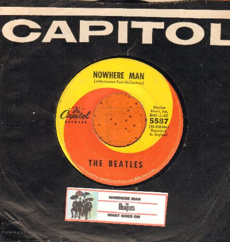 Beatles - Nowhere Man/What Goes On (with juke box label and Capitol company sleeve) - VG7/ - 45 rpm Records