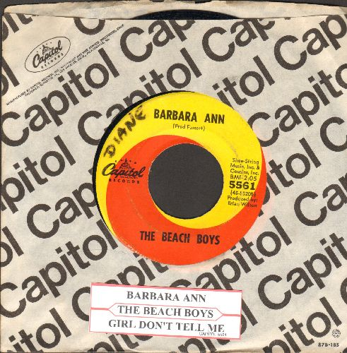 Beach Boys - Barbara Ann/Girl Don't Tell Me (with Capitol company sleeve and juke box label) (wol) - VG7/ - 45 rpm Records
