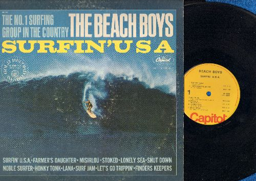 Beach Boys - Surfin' USA: Misirlou, Shut Down, Noble Surfer, Let's Go Trippin', Finders Keepers, Honky Tonk. Lana (Vinyl STEREO LP record, 1970s pressing of vintage recordings) - EX8/VG6 - LP Records