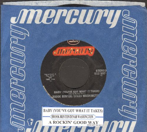 Benton, Brook & Dinah Washington - Baby (You've Got What It Takes)/A Rockin' Good Way (double-hit re-issue with juke box label and company sleeve) - NM9/ - 45 rpm Records
