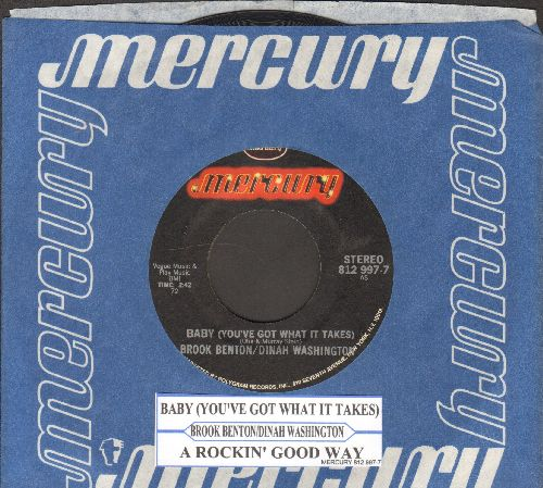 Washington, Dinah & Brook Benton - Baby (You've Got What It Takes)/A Rockin' Good Way (double-hit re-issue with Mercury company sleeve and juke box label) - EX8/ - 45 rpm Records