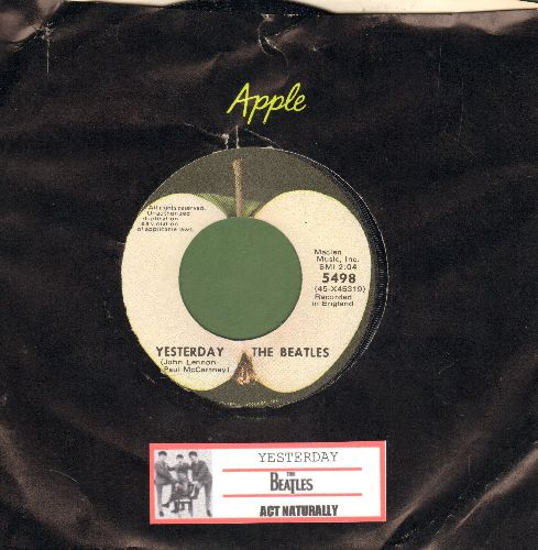 Beatles - Yesterday/Act Naturally (Apple label with company sleeve and juke box label) - NM9/ - 45 rpm Records