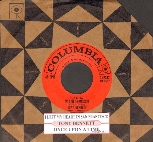 Bennett, Tony - I Left My Heart In San Francisco/Once Upon A Time (with juke box label and vintage Columbia company sleeve) - NM9/ - 45 rpm Records