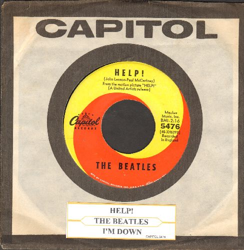 Beatles - Help!/I'm Down (orange/yellow swirld first issue with Capitol company sleeve and juke box label) - EX8/ - 45 rpm Records