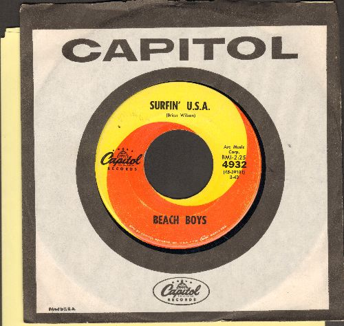 Beach Boys - Surfin' U.S.A./Shut Down (orange/yellow swirl first issue with Capitol company sleeve)  - NM9/ - 45 rpm Records