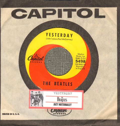 Beatles - Yesterday/Act Naturally (yellow/orange swirl first issue with Capitol company sleeve and juke box label) - NM9/ - 45 rpm Records