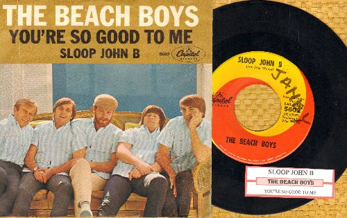 Beach Boys - Sloop John B/You're So Good To Me (orange/yellow swirl firt pressing with picture sleeve and juke box label)(wol) - EX8/VG7 - 45 rpm Records