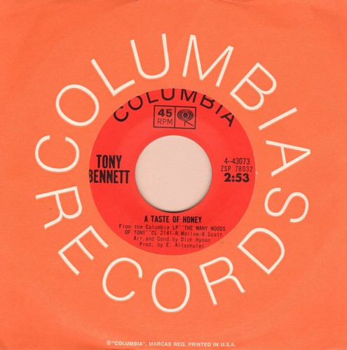 Bennett, Tony - A Taste Of Honey/It's A Sin To Tell A Lie (with Columbia company sleeve) - EX8/ - 45 rpm Records