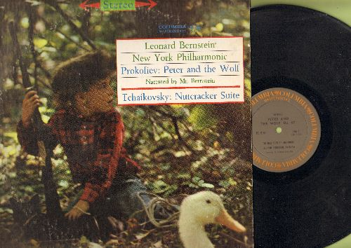 Bernstein, Leonard with New York Philharmonic - Prokofiev: Peter and the Wolf (narrated by Mr. Bernstein)/Tchaikovsky: Nutcracker Suite (vinyl STEREO LP record) - EX8/VG7 - LP Records