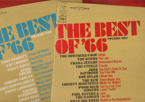 Brothers Four, Byrds, Bob Dylan, others - The Best Of '66 Vol. 1 + 2: Help!, These Boots Are Made For Walkin', Yesterday, What's New Pussycat? (2 vinyl STEREO LP records) - NM9/NM9 - LP Records