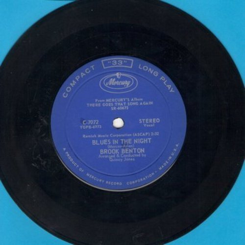 Benton, Brook - Blues In The Night/I Didn't Know What Time It Was (RARE 7 inch 33rpm STEREO record, small spindle hole) - NM9/ - 45 rpm Records