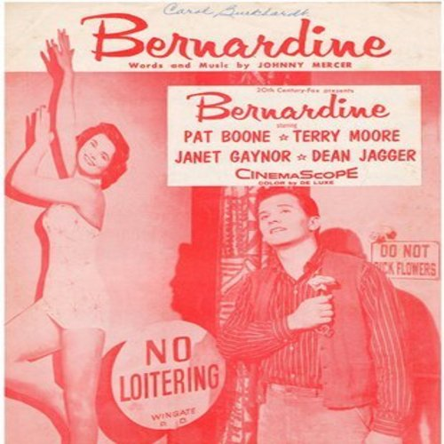 Boone, Pat - Bernardine - SHEET MUSIC for the song made popular by Pat Boone (This is SHEET MUSIC, NOT ANY OTHER KIND OF MEDIA!) - VG7/ - Sheet Music