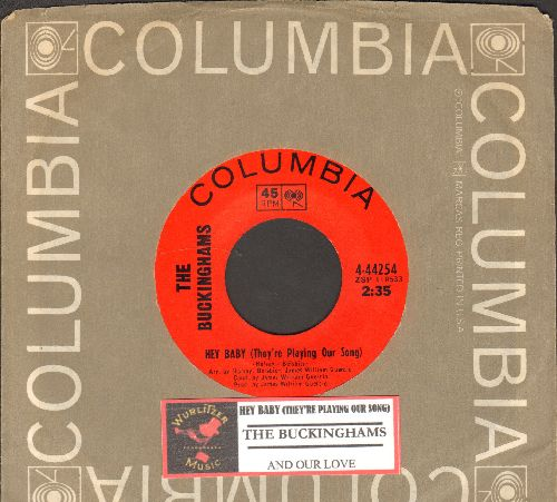 Buckinghams - Hey Baby (They're Playing Our Song)/And Our Love (with juke box label and Columbia company sleeve) - NM9/ - 45 rpm Records