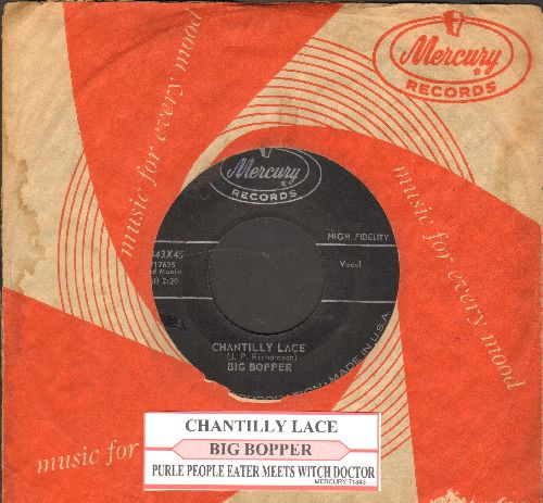 Big Bopper - Chantilly Lace/Purplr People Eater Meets Witch Doctor (with juke box label and vintage Mercury company sleeve) - VG7/ - 45 rpm Records