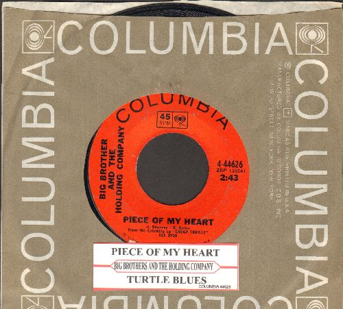 Big Brother & The Holding Company - Piece Of My Heart/Turtle Blues (with juke box label and Columbia company sleeve) - NM9/ - 45 rpm Records