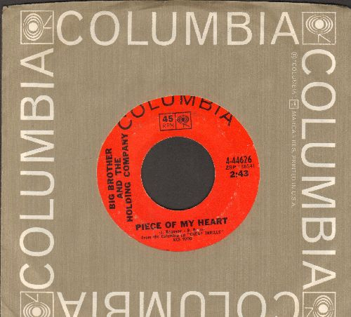 Big Brother & The Holding Company - Piece Of My Heart/Turtle Blues (with Columbia company sleeve) - VG7/ - 45 rpm Records