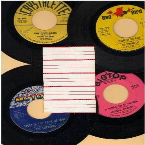 Carroll, Andrea, Shangri-Las, Dodie Stevens, Supremes - Vintage Girl-Sound 4-Pack: It Hurts To Be Sixteen, Leader Of The Pack, Pink Shoe Laces, Stop! In The Name Of Love. First issue pressing in very good or better condition with 5 blank juke box labels.