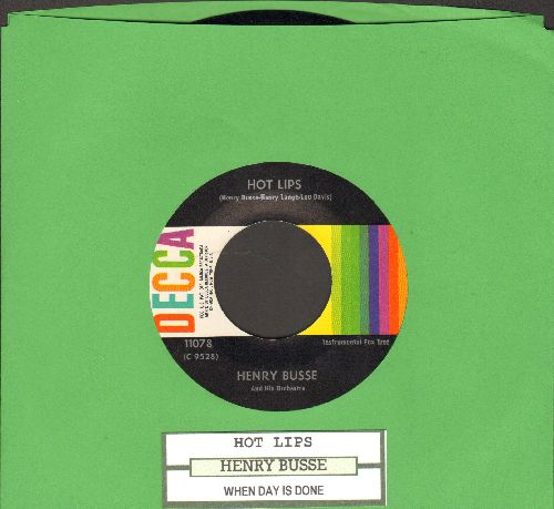 Busse, Henry & His Orchestra - Hot Lips/When Day Is Done (multi-color label 1960s pressing with juke box label) - NM9/ - 45 rpm Records