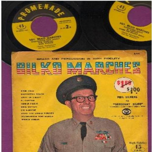 Washburn, Frank & His Orchestra - Sgt. Bilko Marches - includes El Capitan, Lili Marlene, River Kwai, Service Medley, more! - 2 vinyl EP record set with picture cover featuring Phil Silvers as Sgt. Bilko - COLLECTOR'S ITEM!) - EX8/VG6 - 45 rpm Records