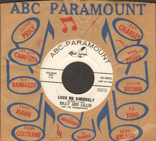 Billy & Lillie - Whip It To Me Baby/Love Me Sincerely (DJ advance pressing with vintage ABC-Paramount company sleeve) - NM9/ - 45 rpm Records