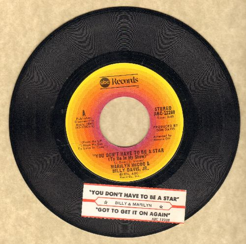 McCoo, Marilyn & Billy Davis, Jr. - You Don't Have To Be A Star (To Be In My Show)/We've Got To Get It On Again (with juke box label) - EX8/ - 45 rpm Records