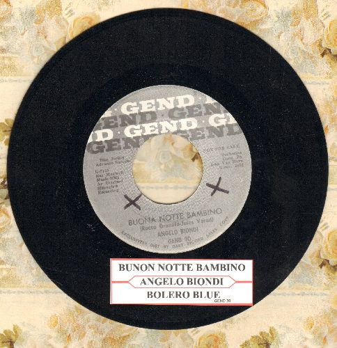 Biondi, Angelo - Buona Notte Bambino/Bolero Blue (US DJ advance pressing with juke box label) - EX8/ - 45 rpm Records