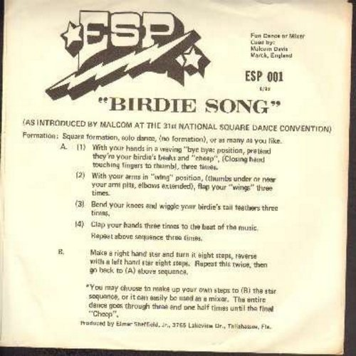 Davis, Malcom - Birdie Song (Chicken Dance) (vocal and instrumental versions, with instructions on picture sleeve) - NM9/EX8 - 45 rpm Records