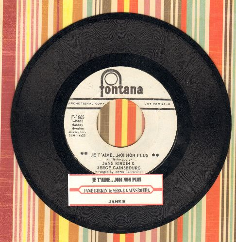 Birkin, Jane & Serge Gainsbourg - Je T'aime…Moi Non Plus/Jane B (banned on radio stations across the US in 1969 due to its 'suggestiveness') (DJ advance pressing with juke box label) - NM9/ - 45 rpm Records