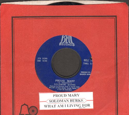 Burke, Solomon - Proud Mary/What Am I Living For (with vintage Bell company sleeve) (bb) - NM9/ - 45 rpm Records