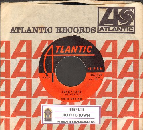 Brown, Ruth - Lucky Lips/My Heart is Breaking Over You (1960s pressing with juke box label and vintage Atlantic company sleeve) - EX8/ - 45 rpm Records