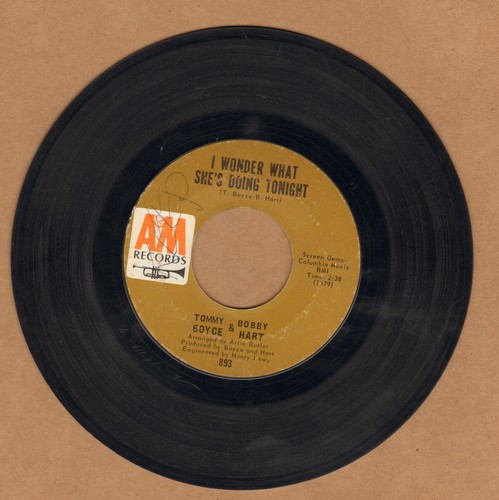 Boyce & Hart - I Wonder What She's Doing Tonight/The Ambushers  - VG7/ - 45 rpm Records