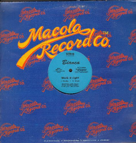 Bianca - Work It Right (12 inch Maxi Single featuring 4 Different Dance Club Mixes, with Macola company cover) - NM9/ - Maxi Singles