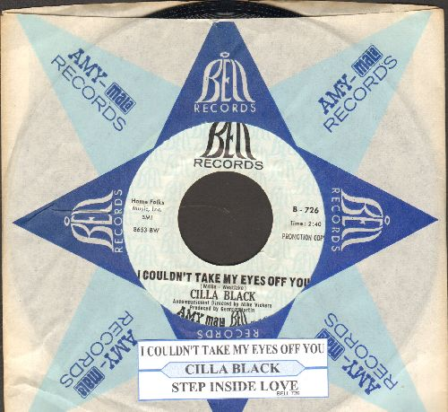 Black, Cilla - I Couldn't Take My Eyes Off You/Step Inside Love (DJ advance pressing with juke box label and company sleeve) - NM9/ - 45 rpm Records