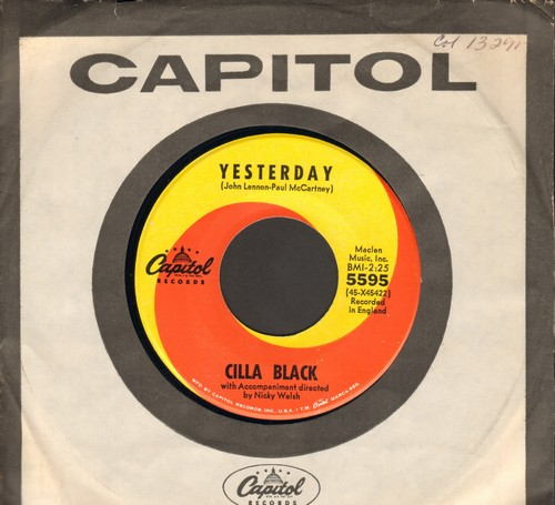 Black, Cilla - Yesterday/Love's Just A Broken Heart (with vintage Capitol company sleeve) - NM9/ - 45 rpm Records