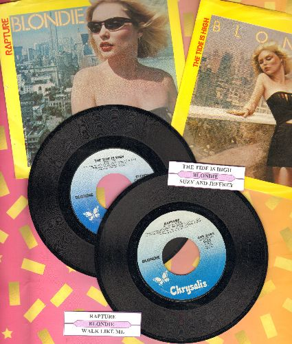 Blondie - 2 first issue 45s with picture sleeves and juke box labels for the price of 1! Includes The Tide Is High and Rapture. - EX8/EX8 - 45 rpm Records